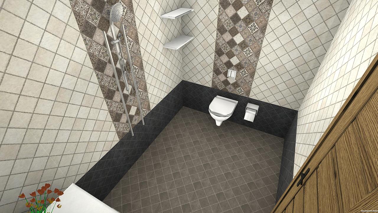 Demo Bathroom  with wall tiles for VisualEz