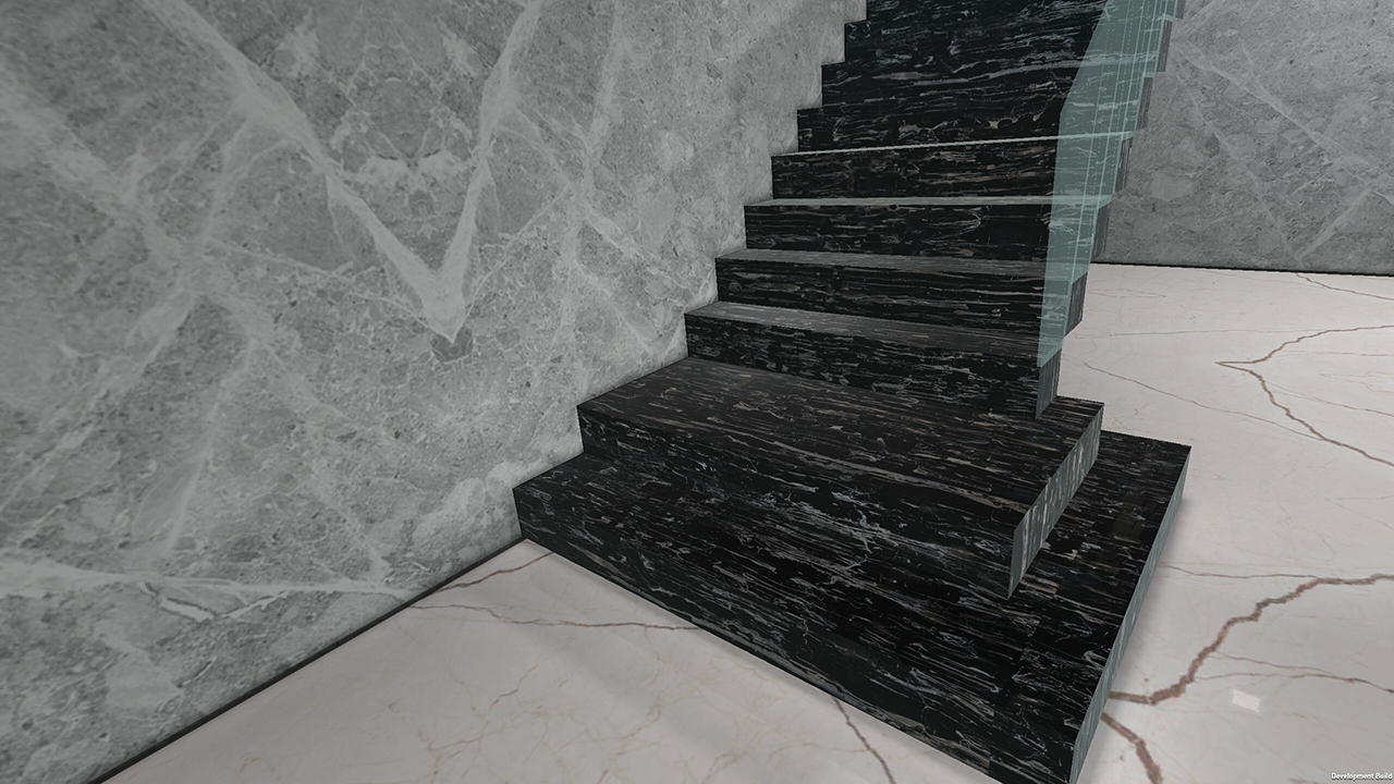 Demo Living room  with wall, floor and stairs tiles and marble for VisualEz