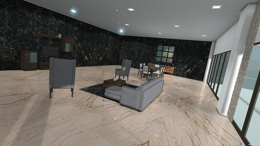 Demo Living room with wall and floor tiles and marble for VisualEz